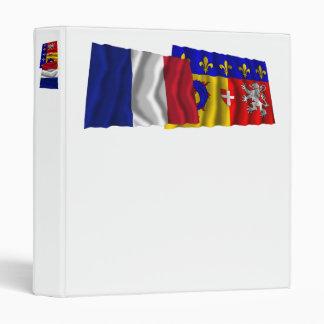 France & Rhône-Alpes waving flags 3 Ring Binder
