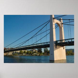 France, Rhone-Alps, Condrieu, bridge across 2 Poster