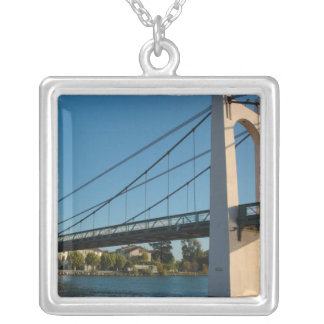 France, Rhone-Alps, Condrieu, bridge across 2 Silver Plated Necklace