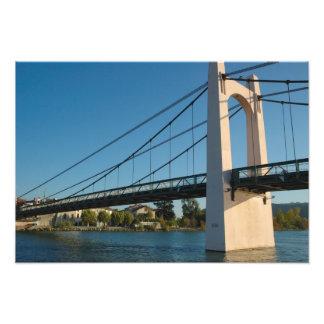 France, Rhone-Alps, Condrieu, bridge across Art Photo