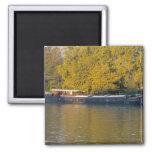 France, Rhone River, near Avignon, barge along 2 Inch Square Magnet