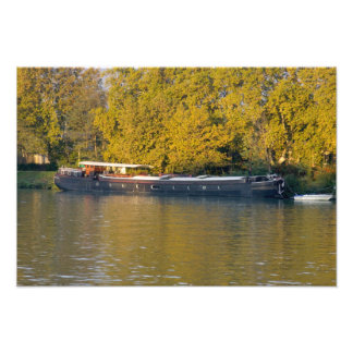 France, Rhone River, near Avignon, barge along Photographic Print