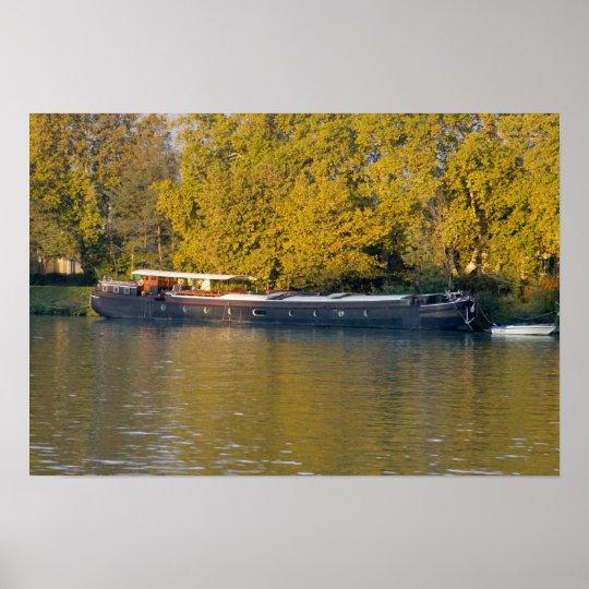 France, Rhone River, near Avignon, barge along Poster