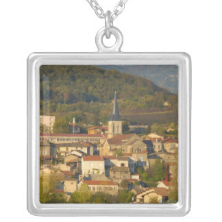 France, Rhone River, town near Vienne Silver Plated Necklace