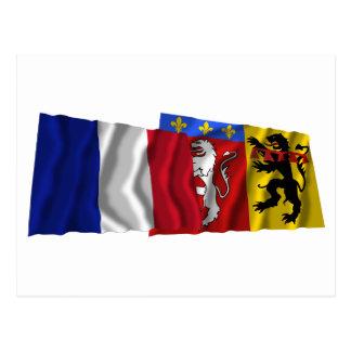 France & Rhône waving flags Postcard