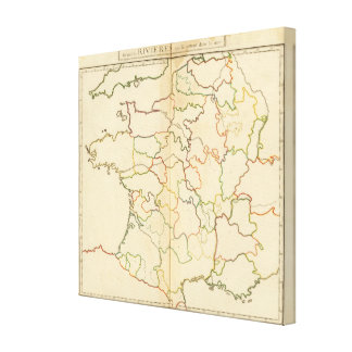 France Rivers Outline Stretched Canvas Print