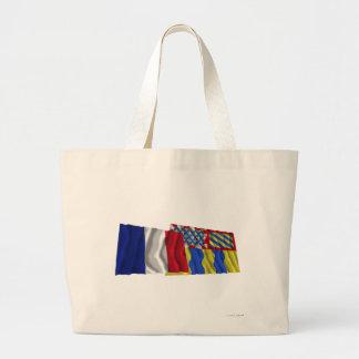 France & Saône-et-Loire waving flags Canvas Bags