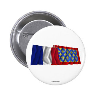France & Sarthe waving flags Button