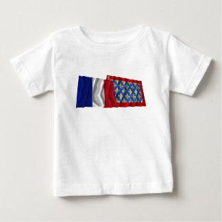 France & Sarthe waving flags T-shirts