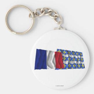 France & Seine-et-Marne waving flags Basic Round Button Keychain