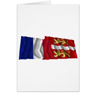France & Seine-Maritime waving flags Card