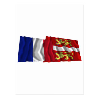France & Seine-Maritime waving flags Postcard
