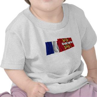 France & Seine-Maritime waving flags T-shirt