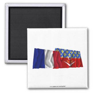 France & Seine-Saint-Denis waving flags Refrigerator Magnet