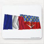 France & Seine-Saint-Denis waving flags Mousepads