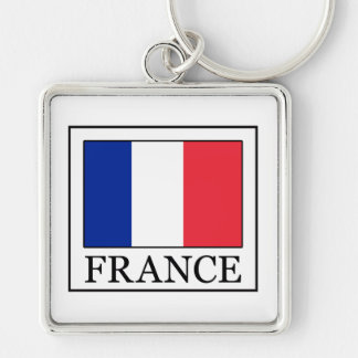 France Silver-Colored Square Keychain