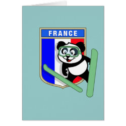 Note Card with French Ski-jumping Panda design