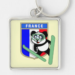 Premium Square Keychain with French Ski-jumping Panda design