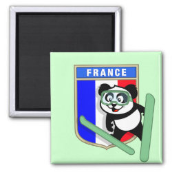 Square Magnet with French Ski-jumping Panda design
