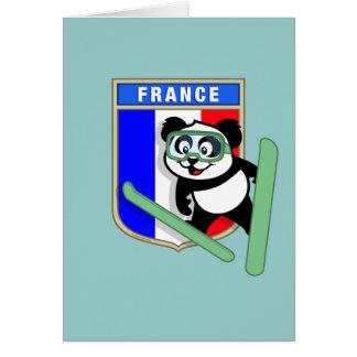 France Ski-jumping Panda Stationery Note Card