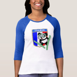 Ladies Raglan Fitted T-Shirt with French Ski-jumping Panda design