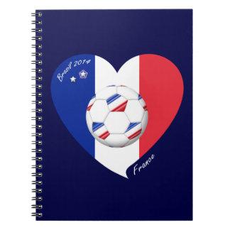 """""""FRANCE"""" Soccer Team. Fútbol de Francia 2014 Libros De Apuntes Con Espiral"""