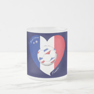 """FRANCE"" Soccer Team. Soccer of France 2014 Frosted Glass Coffee Mug"
