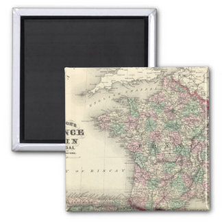 France, Spain, and Portugal 2 Inch Square Magnet