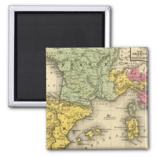 France, Spain, Portugal, Italy 2 Inch Square Magnet