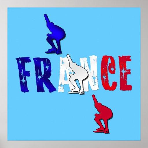 France speed skating ice skating poster print