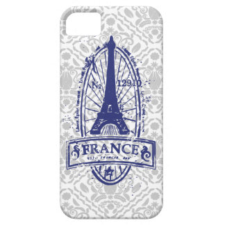 France stamp, french art on gray damask iPhone 5 iPhone SE/5/5s Case