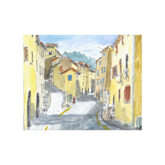 France Streetscape Canvas Gallery Wrapped Canvas