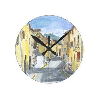 France Streetscape Wall Clock