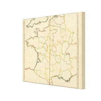 France Subdivisions Outline Canvas Print