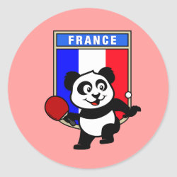 Round Sticker with French Table Tennis Panda design