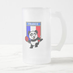Frosted Glass Mug with French Table Tennis Panda design