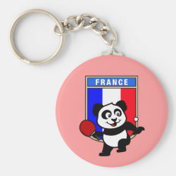 Basic Button Keychain with French Table Tennis Panda design