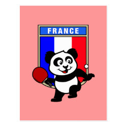 Postcard with French Table Tennis Panda design