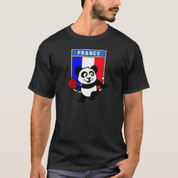 Men's Basic Dark T-Shirt with French Table Tennis Panda design