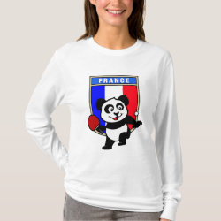 Women's Basic Long Sleeve T-Shirt with French Table Tennis Panda design