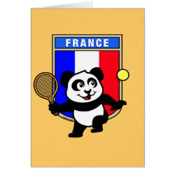 French Tennis Panda Greeting Card