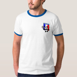 Men's Basic Ringer T-Shirt with French Tennis Panda design