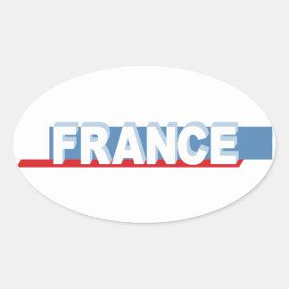 France - textual design oval sticker