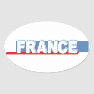 France - textual design oval stickers