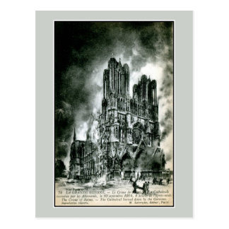 France the burning Cathedral of Reims drawing Postcard