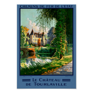 France Tourlaville Restored Vintage Travel Poster