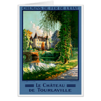 France Tourlaville Restored Vintage Travel Poster Card