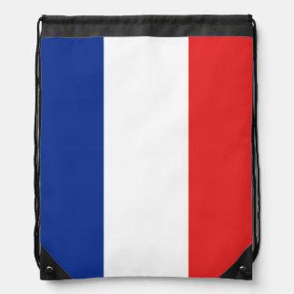 France Tricolor Drawstring Bag