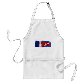 France & Val-d'Oise waving flags Adult Apron