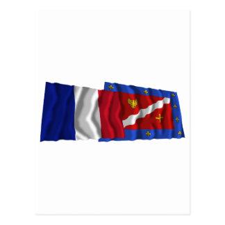France & Val-d'Oise waving flags Postcard